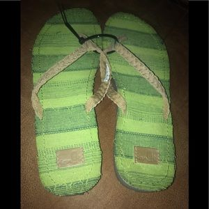 Sanuk flip flops. Leather upper, rubber bottom. 10